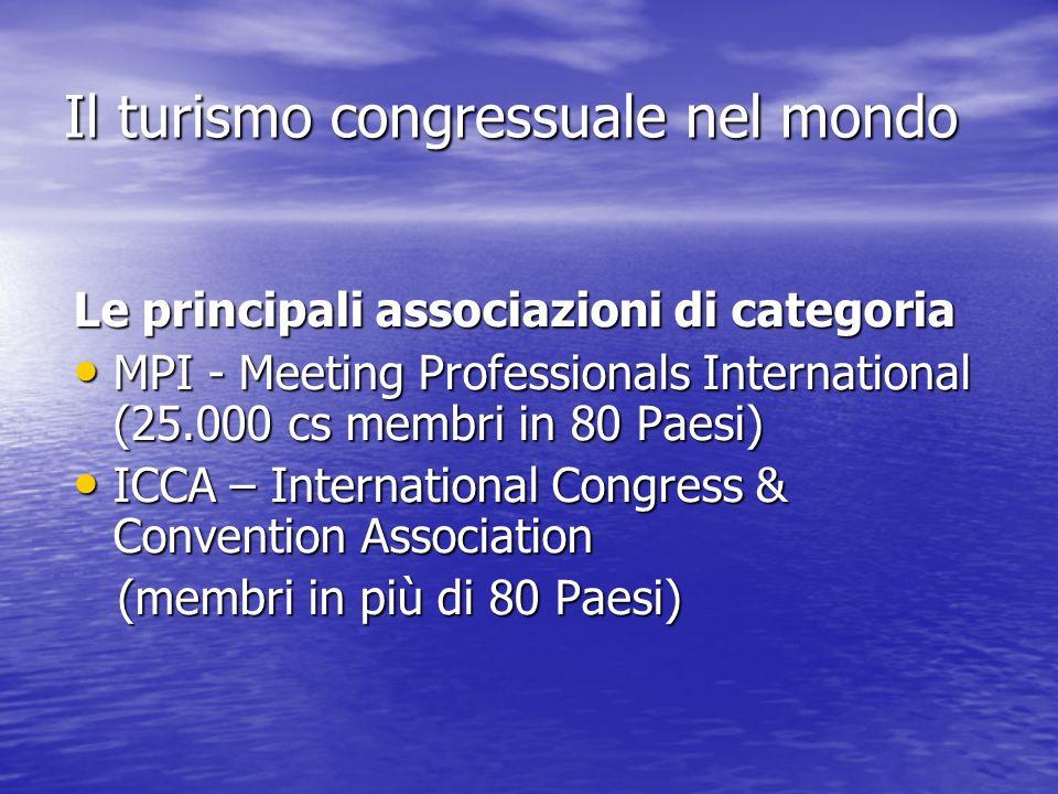 Il turismo congressuale nel mondo Le principali associazioni di categoria MPI - Meeting Professionals International (25.000 cs membri in 80 Paesi) MPI