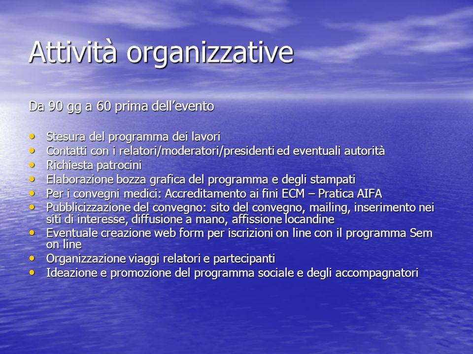 Attività organizzative Da 90 gg a 60 prima dellevento Stesura del programma dei lavori Stesura del programma dei lavori Contatti con i relatori/modera