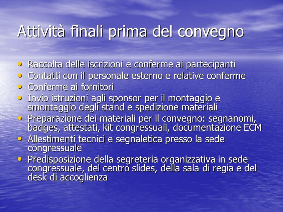 Attività finali prima del convegno Raccolta delle iscrizioni e conferme ai partecipanti Raccolta delle iscrizioni e conferme ai partecipanti Contatti
