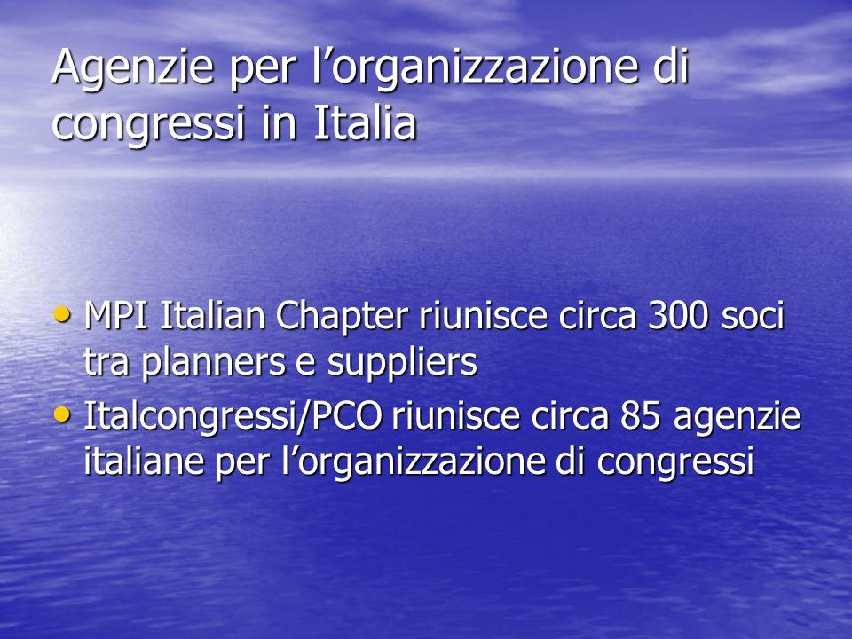 Agenzie per lorganizzazione di congressi in Italia MPI Italian Chapter riunisce circa 300 soci tra planners e suppliers MPI Italian Chapter riunisce c