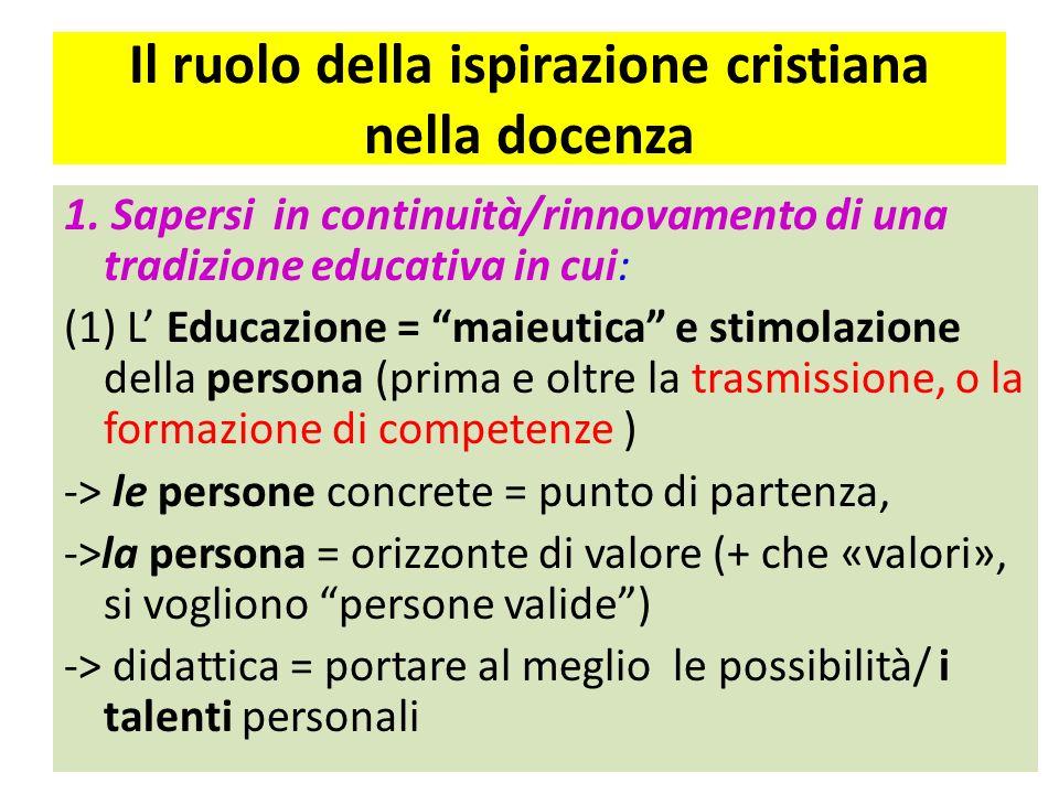 Il ruolo della ispirazione cristiana nella docenza 1. Sapersi in continuità/rinnovamento di una tradizione educativa in cui: (1) L Educazione = maieut