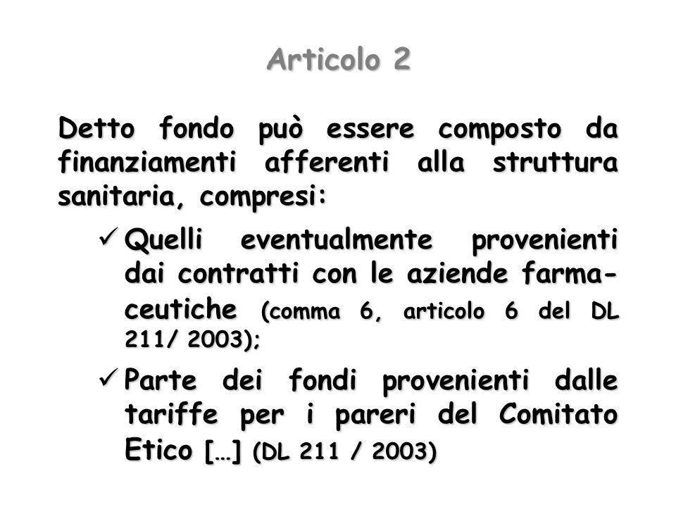 Articolo 2 Detto fondo può essere composto da finanziamenti afferenti alla struttura sanitaria, compresi: Quelli eventualmente provenienti dai contrat