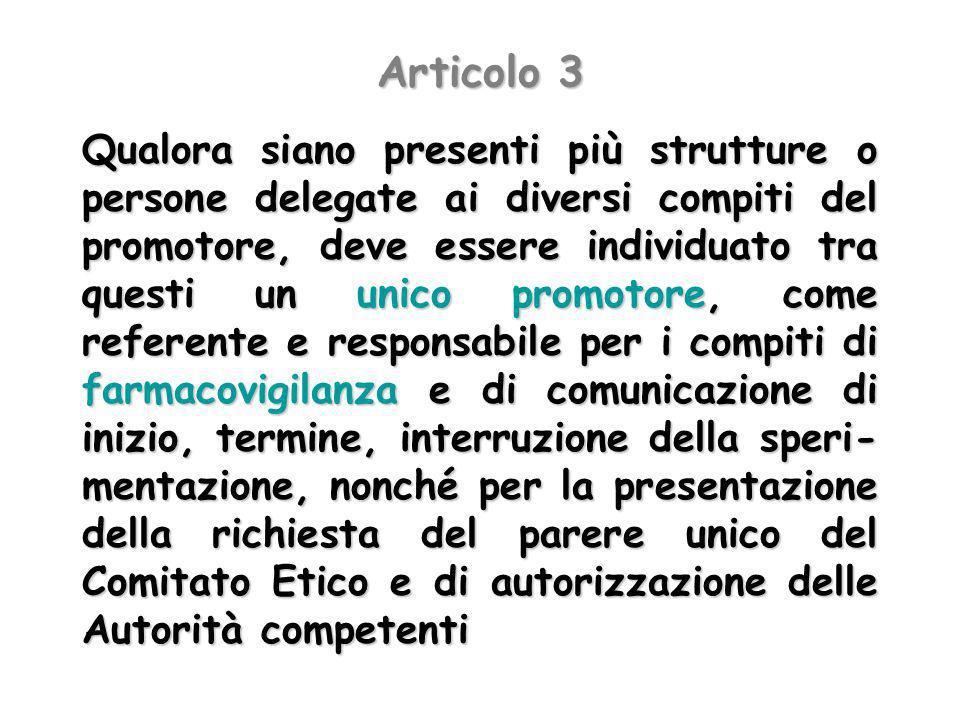 Articolo 3 Qualora siano presenti più strutture o persone delegate ai diversi compiti del promotore, deve essere individuato tra questi un unico promo
