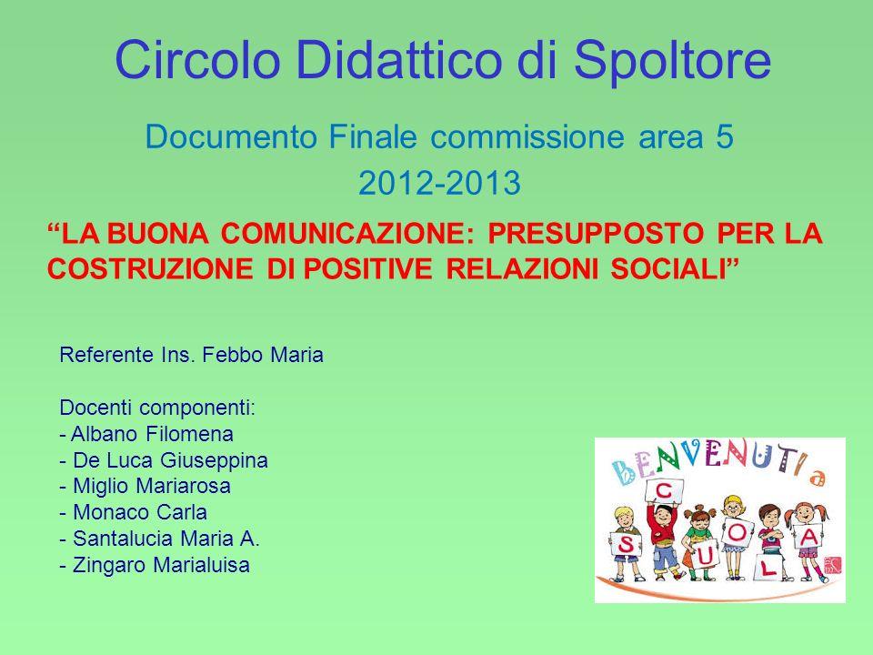 Circolo Didattico di Spoltore Documento Finale commissione area 5 2012-2013 Referente Ins.