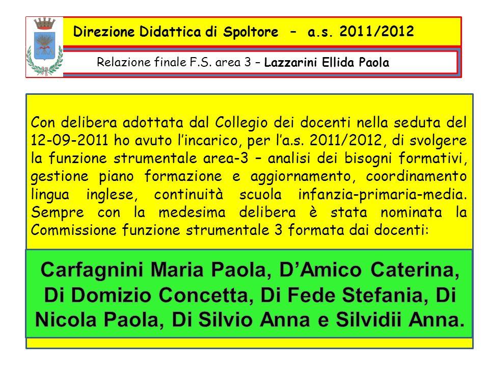 Con delibera adottata dal Collegio dei docenti nella seduta del 12-09-2011 ho avuto lincarico, per la.s.