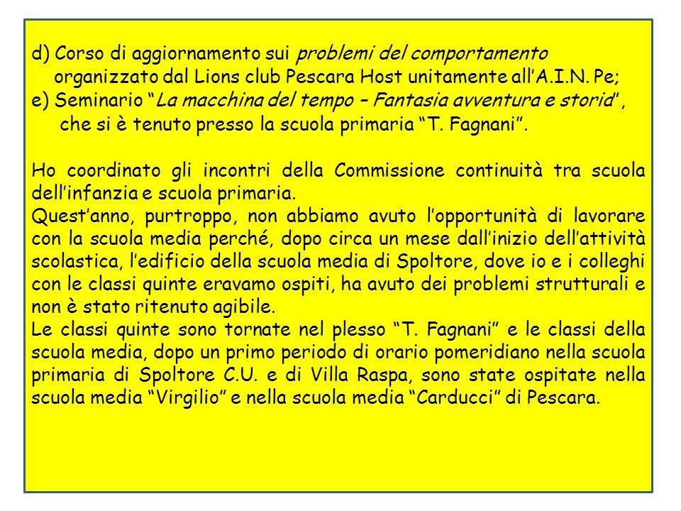 d) Corso di aggiornamento sui problemi del comportamento organizzato dal Lions club Pescara Host unitamente allA.I.N.