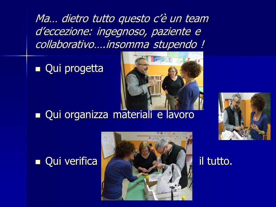 Ma… dietro tutto questo cè un team deccezione: ingegnoso, paziente e collaborativo….insomma stupendo .