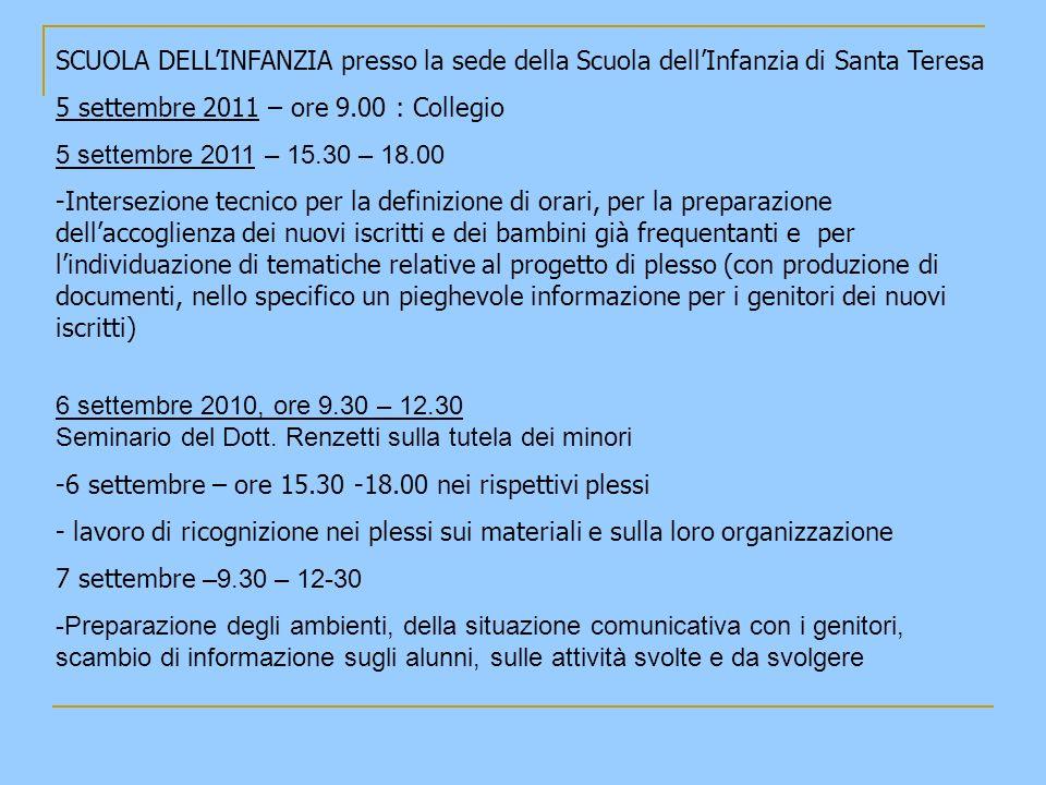 SCUOLA DELLINFANZIA presso la sede della Scuola dellInfanzia di Santa Teresa 8 settembre 2011 9.30 12.00 -Attività di progettazione di sezione e preparazione dei percorsi di accoglienza.