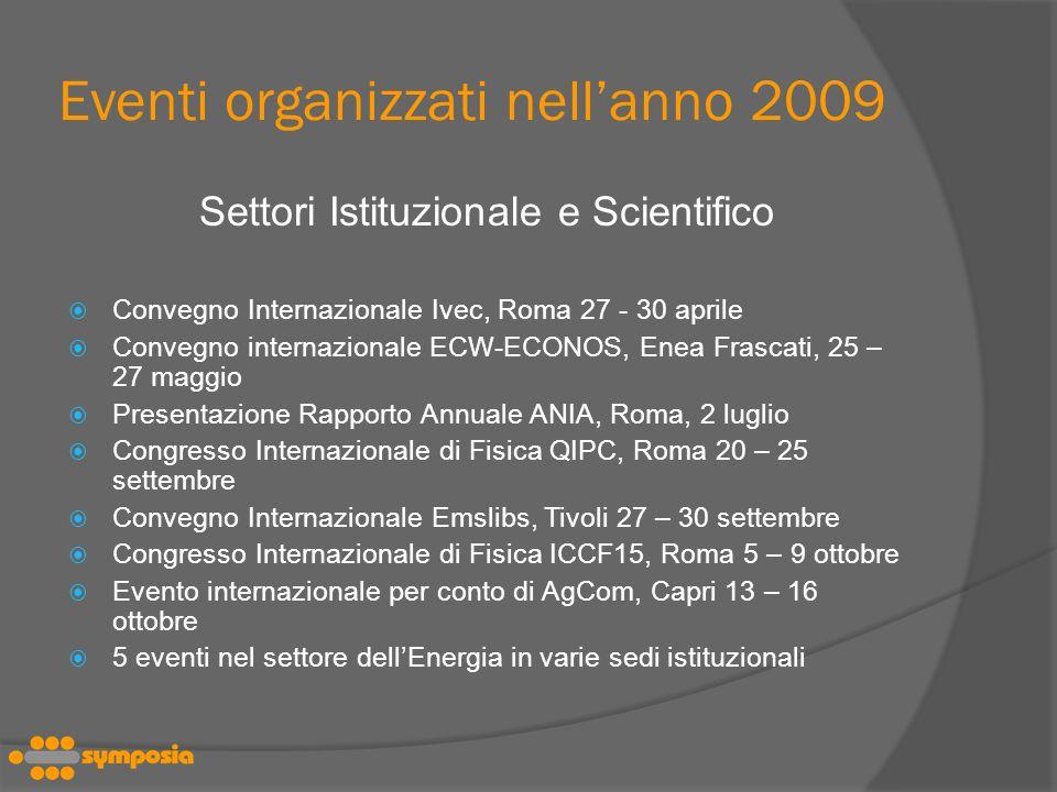 Eventi organizzati nellanno 2009 Settori Istituzionale e Scientifico Convegno Internazionale Ivec, Roma 27 - 30 aprile Convegno internazionale ECW-ECONOS, Enea Frascati, 25 – 27 maggio Presentazione Rapporto Annuale ANIA, Roma, 2 luglio Congresso Internazionale di Fisica QIPC, Roma 20 – 25 settembre Convegno Internazionale Emslibs, Tivoli 27 – 30 settembre Congresso Internazionale di Fisica ICCF15, Roma 5 – 9 ottobre Evento internazionale per conto di AgCom, Capri 13 – 16 ottobre 5 eventi nel settore dellEnergia in varie sedi istituzionali