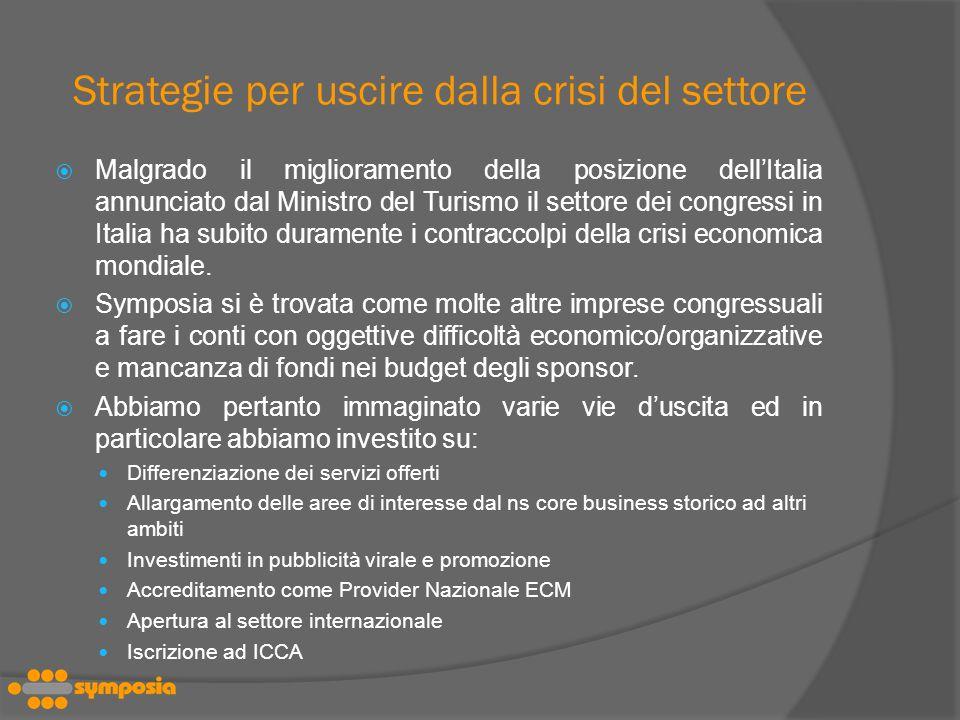 Strategie per uscire dalla crisi del settore Malgrado il miglioramento della posizione dellItalia annunciato dal Ministro del Turismo il settore dei congressi in Italia ha subito duramente i contraccolpi della crisi economica mondiale.