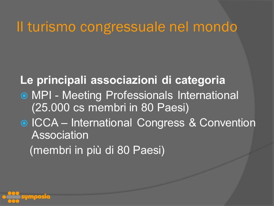 Il turismo congressuale nel mondo Le principali associazioni di categoria MPI - Meeting Professionals International (25.000 cs membri in 80 Paesi) ICCA – International Congress & Convention Association (membri in più di 80 Paesi)