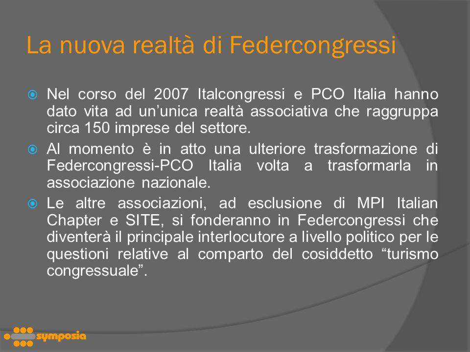 La nuova realtà di Federcongressi Nel corso del 2007 Italcongressi e PCO Italia hanno dato vita ad ununica realtà associativa che raggruppa circa 150 imprese del settore.