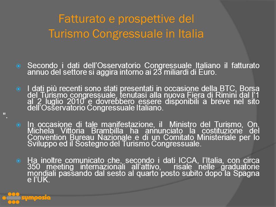 Fatturato e prospettive del Turismo Congressuale in Italia Secondo i dati dellOsservatorio Congressuale Italiano il fatturato annuo del settore si aggira intorno ai 23 miliardi di Euro.