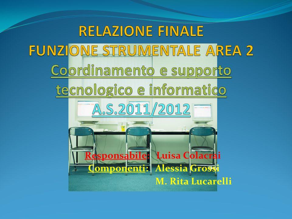 La Commissione relativa alla funzione strumentale Area 2, per lanno scolastico 2011/2012, ha svolto lattività di Coordinamento e supporto tecnologico e informatico.