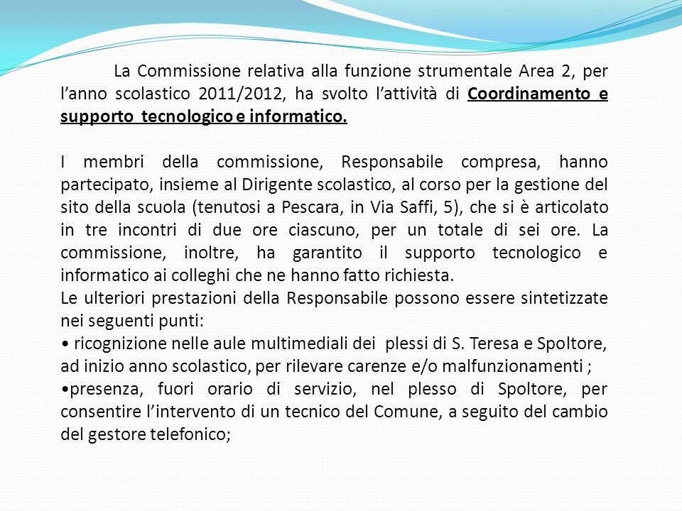 La Commissione relativa alla funzione strumentale Area 2, per lanno scolastico 2011/2012, ha svolto lattività di Coordinamento e supporto tecnologico
