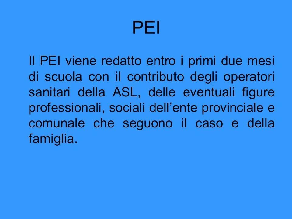 PEI Il PEI viene redatto entro i primi due mesi di scuola con il contributo degli operatori sanitari della ASL, delle eventuali figure professionali, sociali dellente provinciale e comunale che seguono il caso e della famiglia.