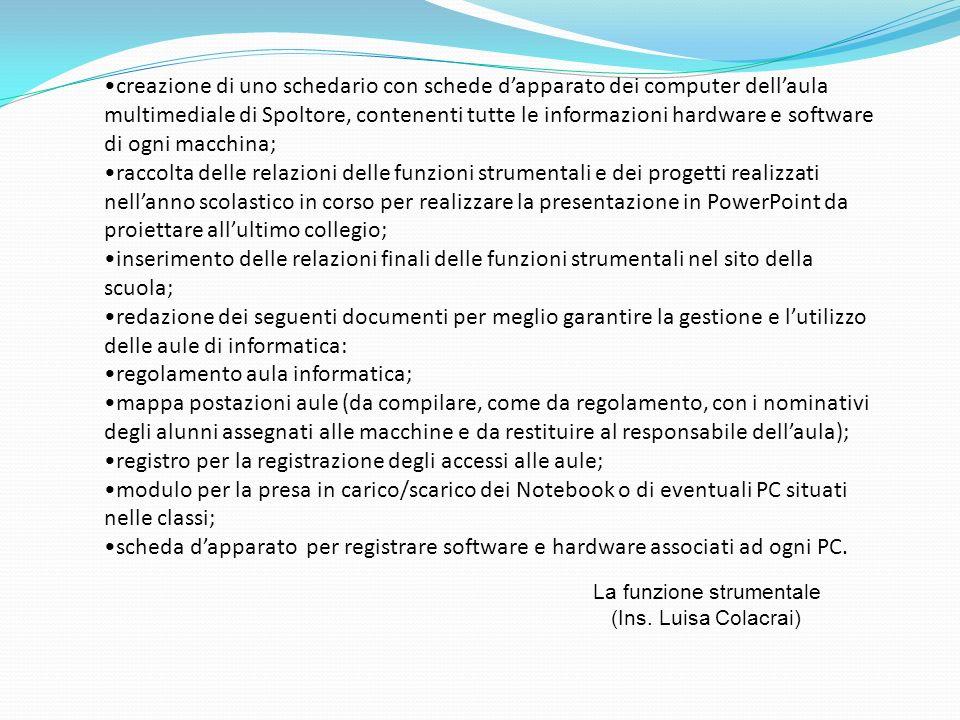 creazione di uno schedario con schede dapparato dei computer dellaula multimediale di Spoltore, contenenti tutte le informazioni hardware e software d