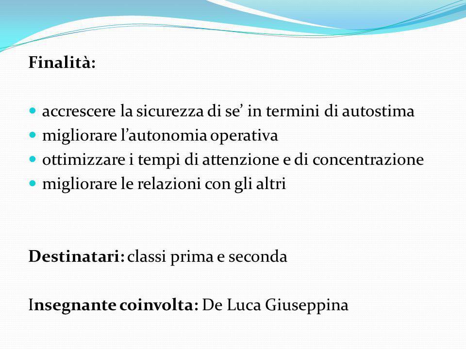 Finalità: accrescere la sicurezza di se in termini di autostima migliorare lautonomia operativa ottimizzare i tempi di attenzione e di concentrazione