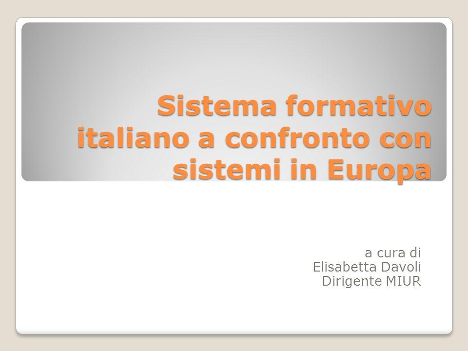 Sistema formativo italiano a confronto con sistemi in Europa a cura di Elisabetta Davoli Dirigente MIUR