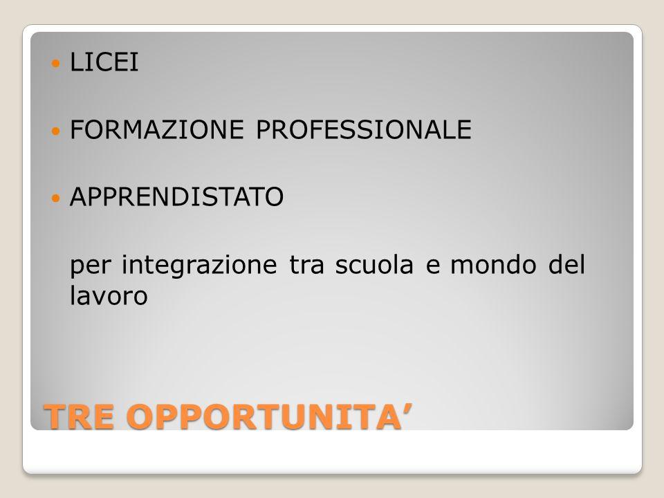TRE OPPORTUNITA LICEI FORMAZIONE PROFESSIONALE APPRENDISTATO per integrazione tra scuola e mondo del lavoro