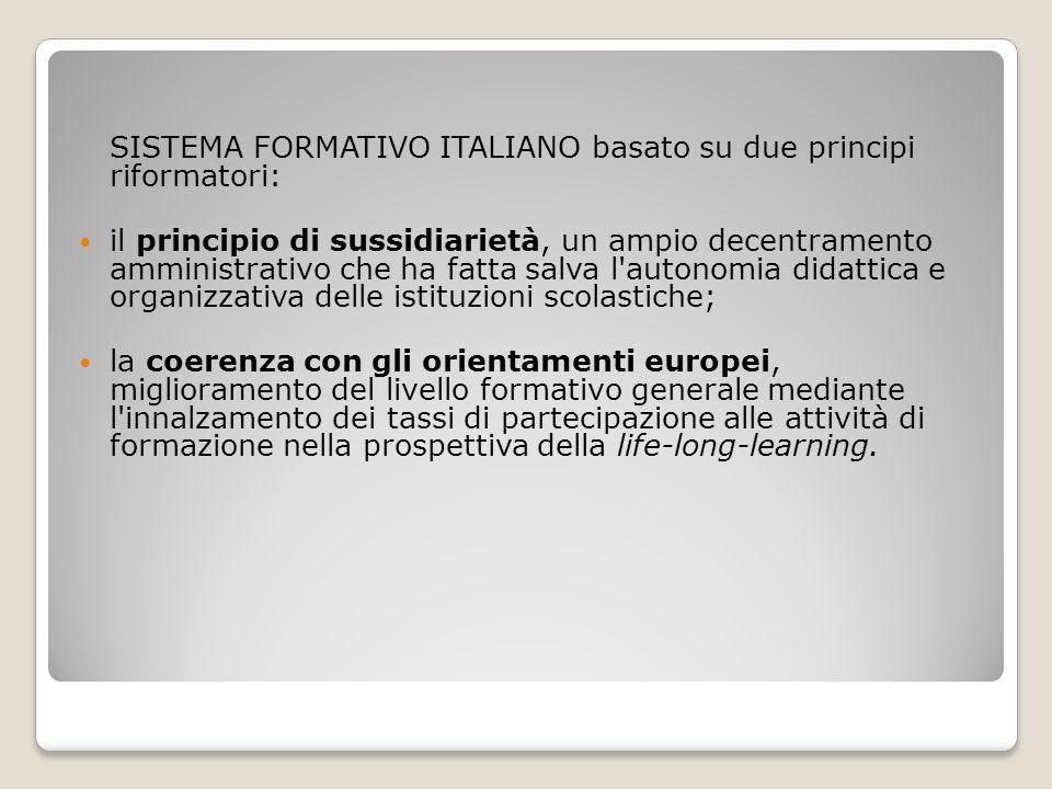 SISTEMA FORMATIVO ITALIANO basato su due principi riformatori: il principio di sussidiarietà, un ampio decentramento amministrativo che ha fatta salva