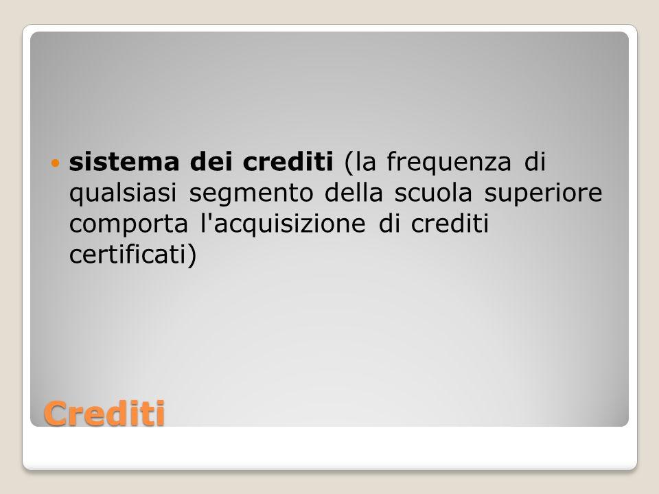Crediti sistema dei crediti (la frequenza di qualsiasi segmento della scuola superiore comporta l'acquisizione di crediti certificati)