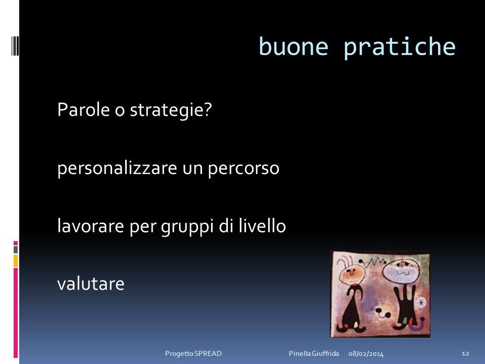 buone pratiche Parole o strategie? personalizzare un percorso lavorare per gruppi di livello valutare 08/02/2014 12 Progetto SPREAD Pinella Giuffrida