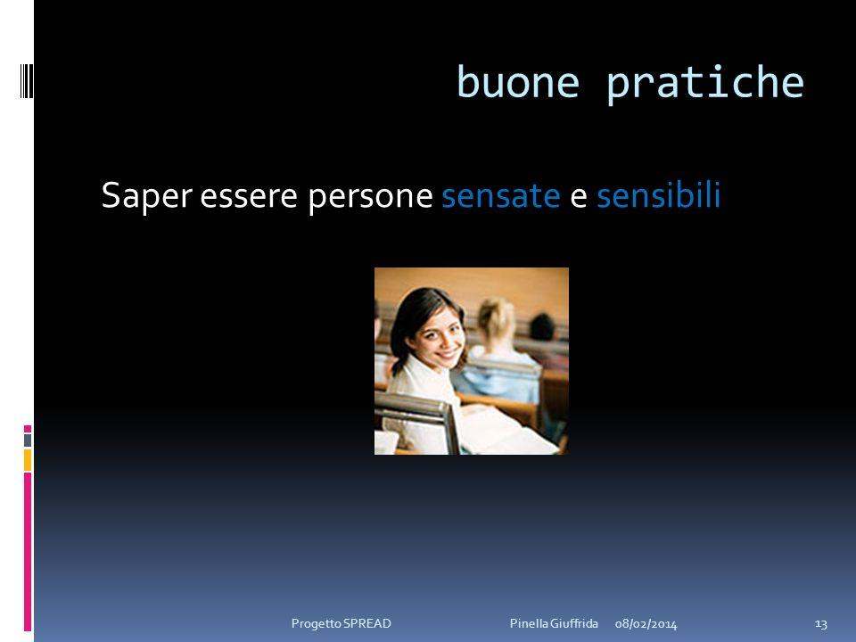 buone pratiche Saper essere persone sensate e sensibili 08/02/2014 13 Progetto SPREAD Pinella Giuffrida