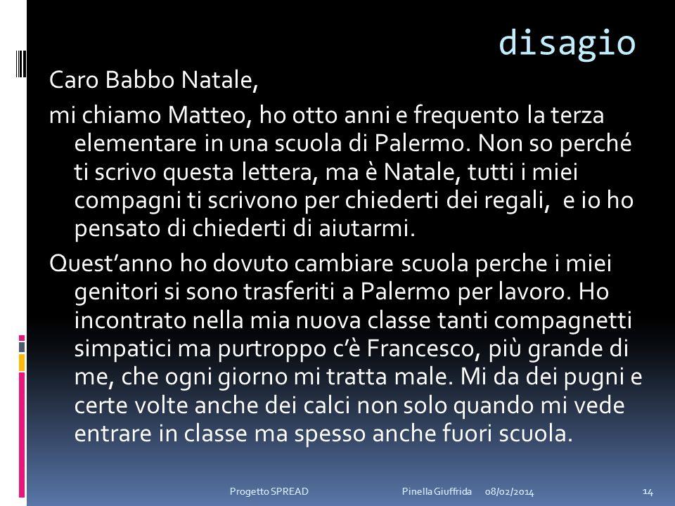 disagio Caro Babbo Natale, mi chiamo Matteo, ho otto anni e frequento la terza elementare in una scuola di Palermo. Non so perché ti scrivo questa let