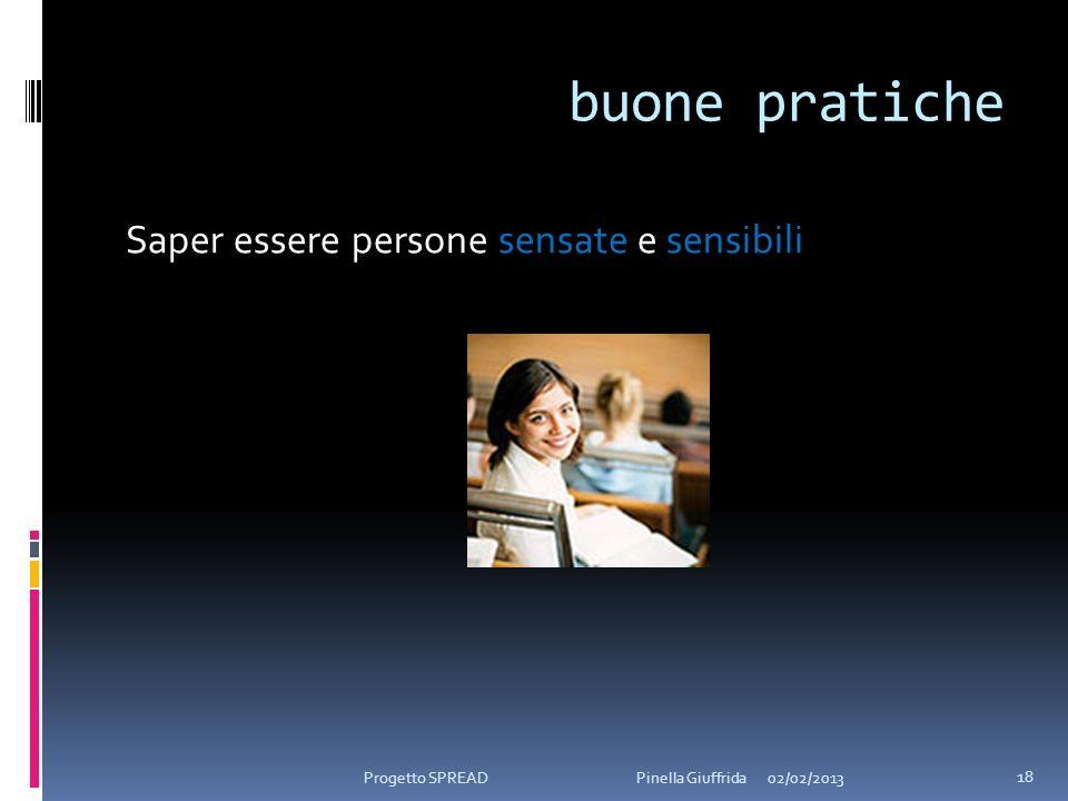 buone pratiche Saper essere persone sensate e sensibili 02/02/2013 18 Progetto SPREAD Pinella Giuffrida