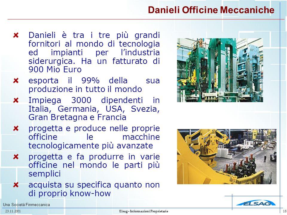 Una Società Finmeccanica 23.11.2001Elsag - Informazioni Proprietarie18 Danieli Officine Meccaniche Danieli è tra i tre più grandi fornitori al mondo d