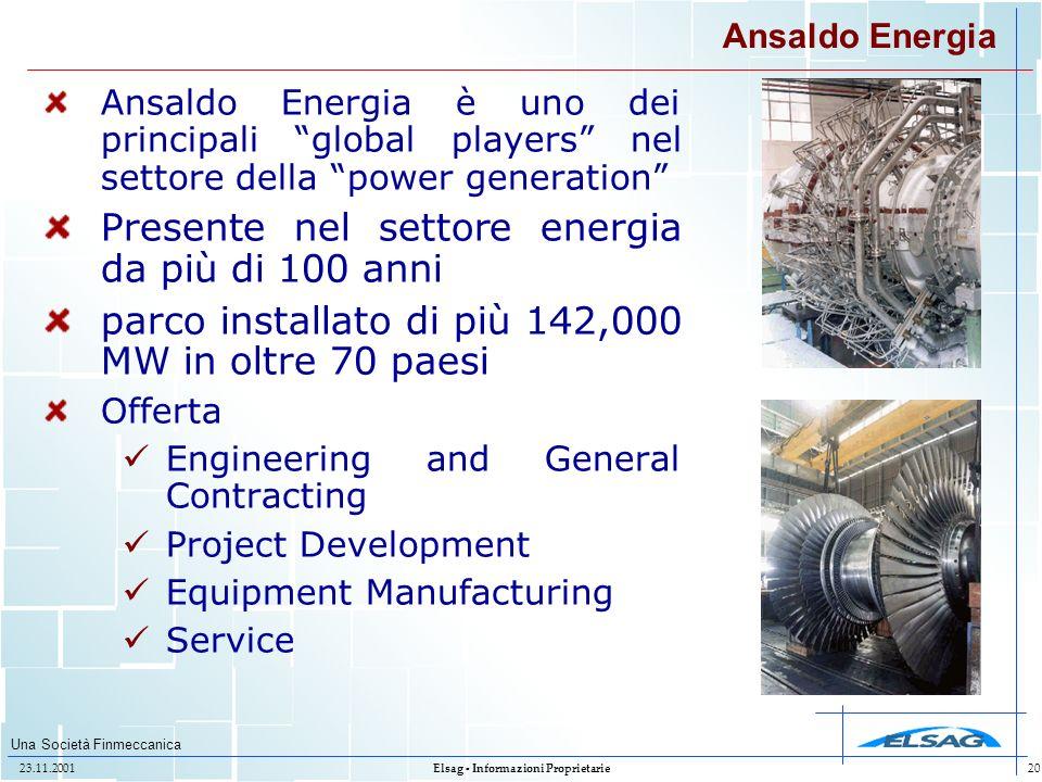 Una Società Finmeccanica 23.11.2001Elsag - Informazioni Proprietarie20 Ansaldo Energia Ansaldo Energia è uno dei principali global players nel settore