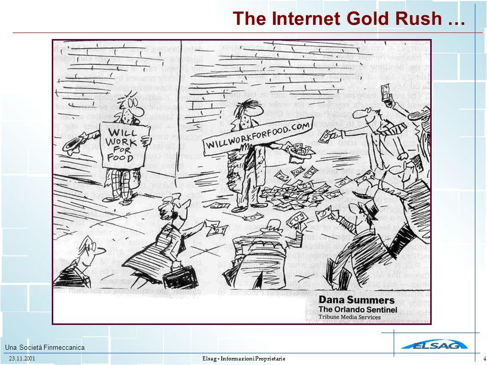 Una Società Finmeccanica 23.11.2001Elsag - Informazioni Proprietarie4 The Internet Gold Rush …