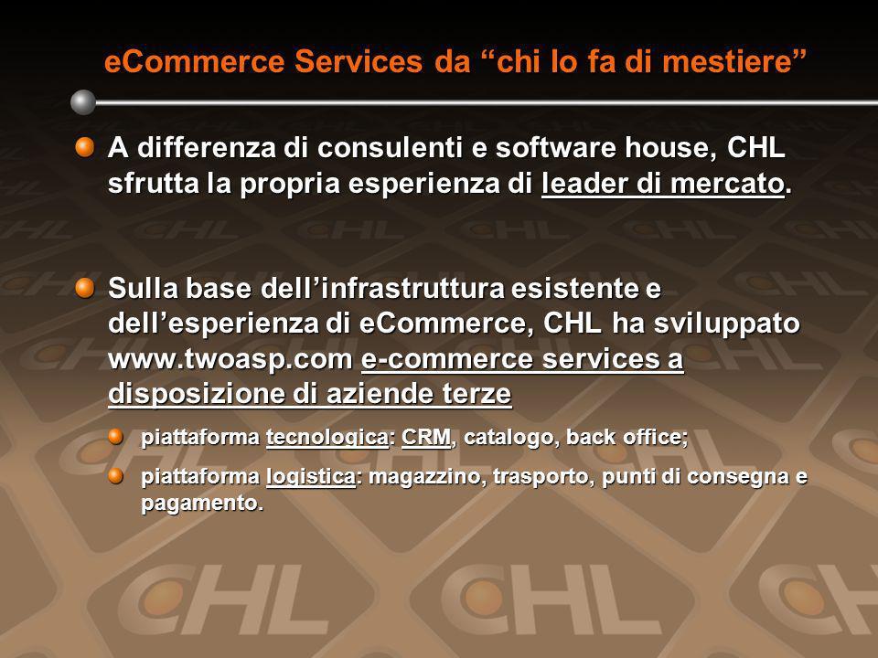 eCommerce Services da chi lo fa di mestiere A differenza di consulenti e software house, CHL sfrutta la propria esperienza di leader di mercato.