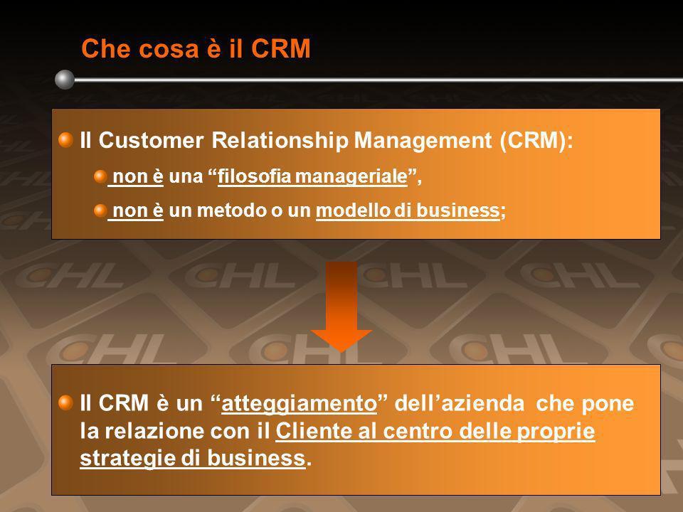 Che cosa è il CRM Il Customer Relationship Management (CRM): non è una filosofia manageriale, non è un metodo o un modello di business; Il CRM è un atteggiamento dellazienda che pone la relazione con il Cliente al centro delle proprie strategie di business.