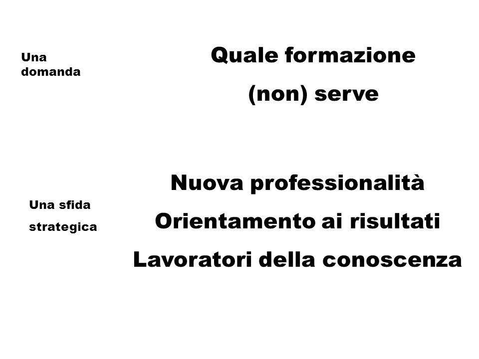 Quale formazione (non) serve Nuova professionalità Orientamento ai risultati Lavoratori della conoscenza Una domanda Una sfida strategica