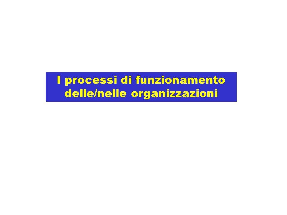 I processi di funzionamento delle/nelle organizzazioni