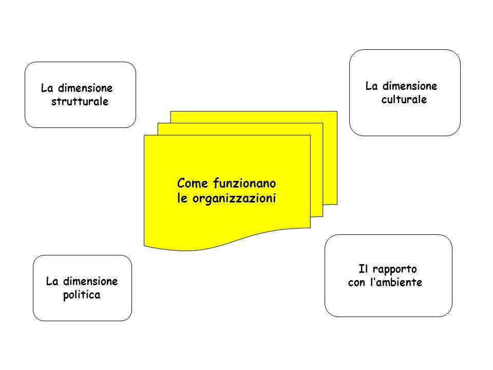 Come funzionano le organizzazioni La dimensione strutturale La dimensione culturale La dimensione politica Il rapporto con lambiente