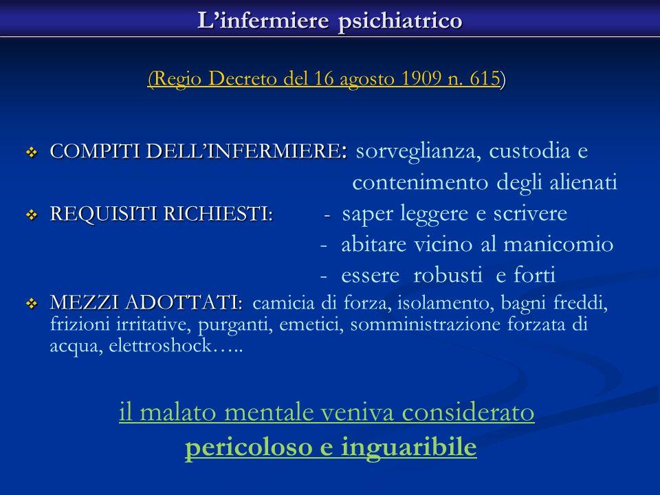 ) (Regio Decreto del 16 agosto 1909 n. 615) (Regio Decreto del 16 agosto 1909 n. 615 COMPITI DELLINFERMIERE : COMPITI DELLINFERMIERE : sorveglianza, c