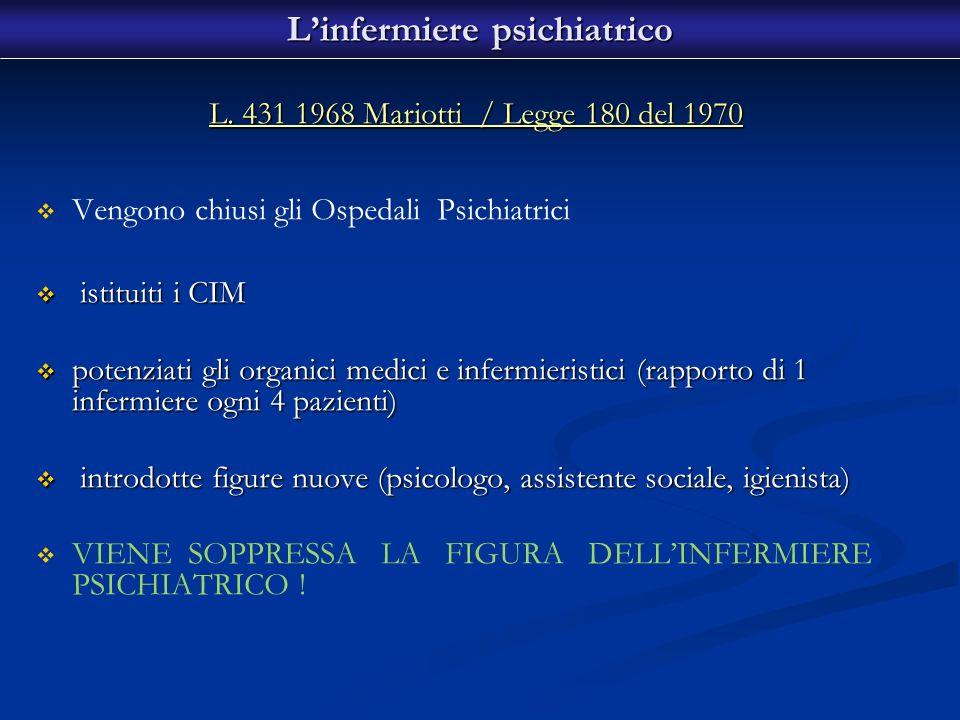 L. 431 1968 Mariotti / Legge 180 del 1970 Vengono chiusi gli Ospedali Psichiatrici istituiti i CIM istituiti i CIM potenziati gli organici medici e in