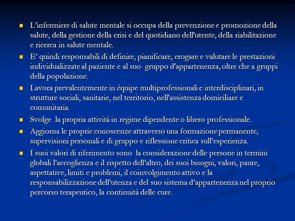 Linfermiere di salute mentale si occupa della prevenzione e promozione della salute, della gestione della crisi e del quotidiano dell'utente, della ri