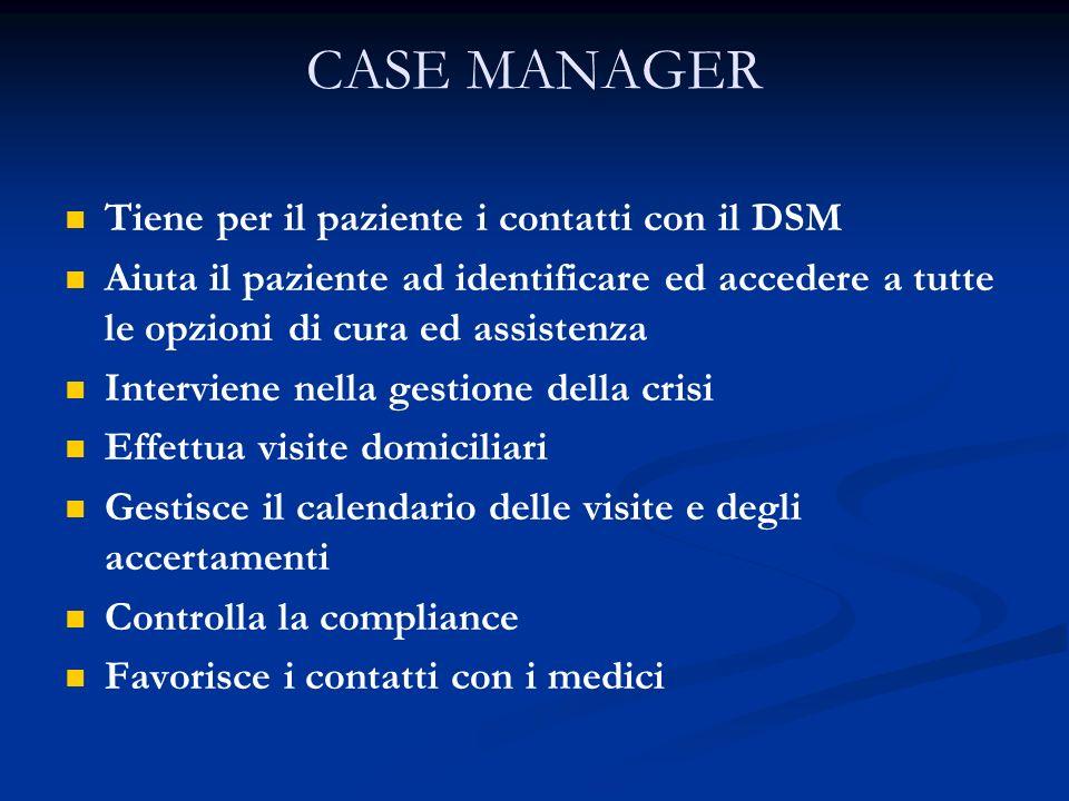 Tiene per il paziente i contatti con il DSM Aiuta il paziente ad identificare ed accedere a tutte le opzioni di cura ed assistenza Interviene nella ge