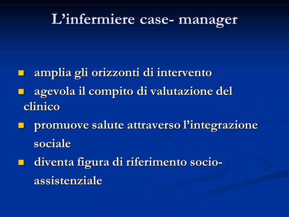 Linfermiere case- manager amplia gli orizzonti di intervento agevola il compito di valutazione del clinico promuove salute attraverso lintegrazione so