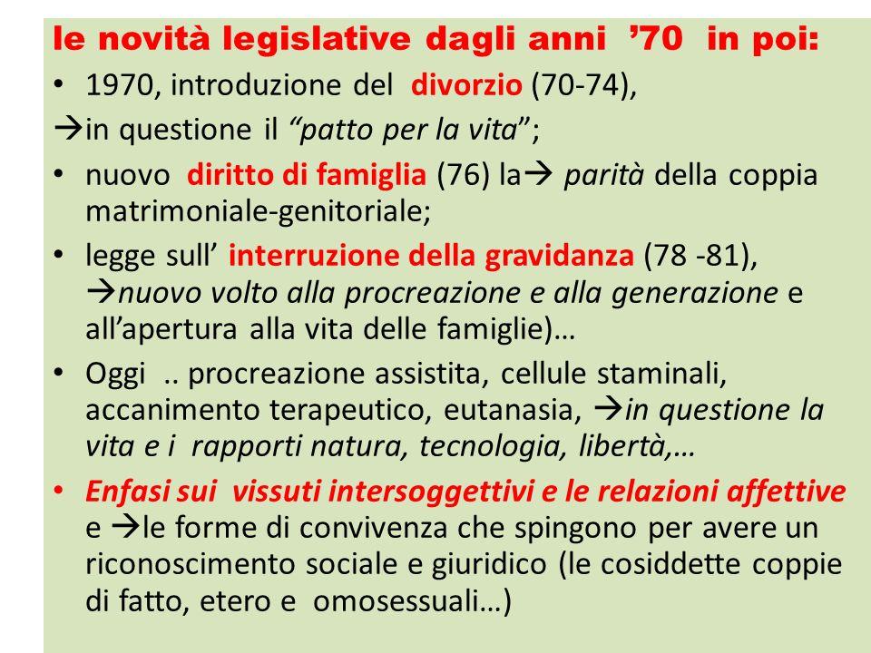 le novità legislative dagli anni 70 in poi: 1970, introduzione del divorzio (70-74), in questione il patto per la vita; nuovo diritto di famiglia (76)