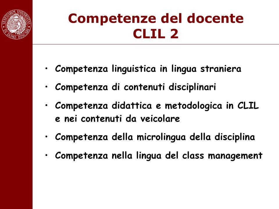 Competenze del docente CLIL 2 Competenza linguistica in lingua straniera Competenza di contenuti disciplinari Competenza didattica e metodologica in C