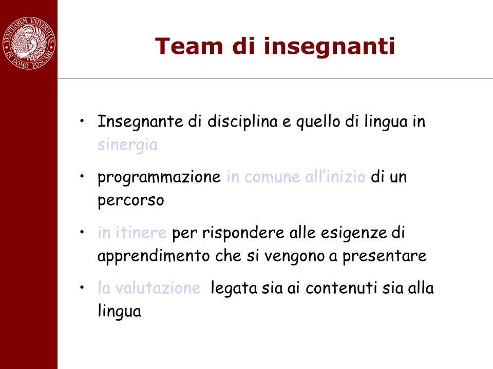Team di insegnanti Insegnante di disciplina e quello di lingua in sinergia programmazione in comune allinizio di un percorso in itinere per rispondere