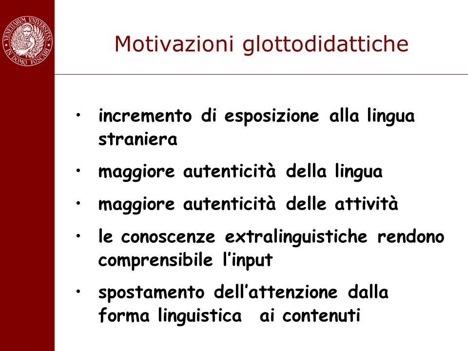 Motivazioni glottodidattiche incremento di esposizione alla lingua straniera maggiore autenticità della lingua maggiore autenticità delle attività le