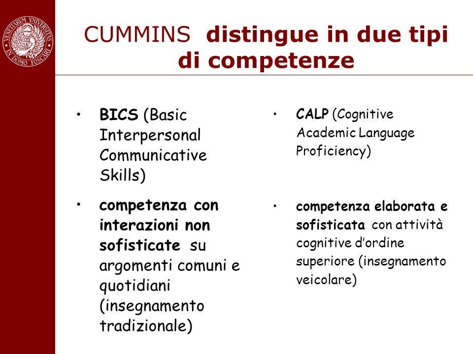 CUMMINS distingue in due tipi di competenze BICS (Basic Interpersonal Communicative Skills) competenza con interazioni non sofisticate su argomenti co