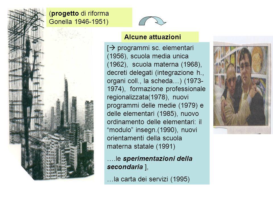 [ programmi sc. elementari (1956), scuola media unica (1962), scuola materna (1968), decreti delegati (integrazione h., organi coll., la scheda…) (197