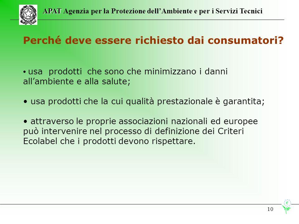 10 APAT APAT Agenzia per la Protezione dellAmbiente e per i Servizi Tecnici Perché deve essere richiesto dai consumatori.